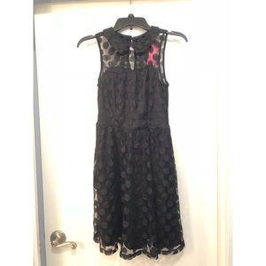 Black Lace Dress w/ Polka Dots & Peter Pan Collar
